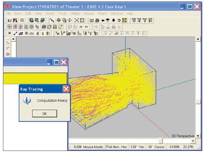 rendering in progress con opzione di visualizzazione raggi abilitata